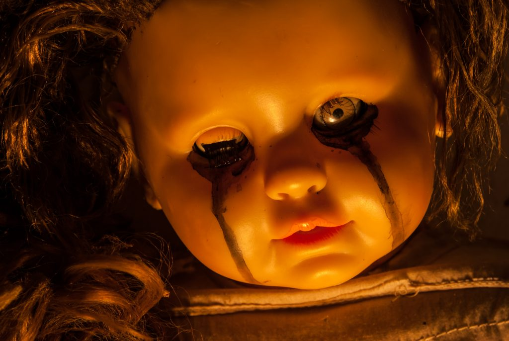 Close up of scary doll